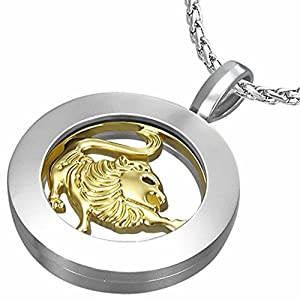 Fashion Alloy 2-tone Leo Zodiac Sign Inner-roller Circle Pendant