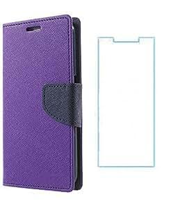 Mercury Winchip Flip Cover For Samsung Galaxy J7 With Screen Guard - Purple
