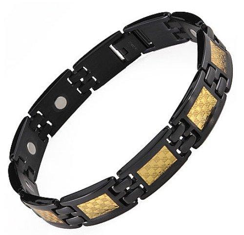 Willis Judd Mens Black Titanium Magnetic Bracelet Featuring Gold Carbon Fibre In Black Velvet Gift Box + Free Link Removal Tool
