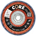 "CoreTemp 76480 Type 29 Regular Density Abrasive Flap Disc with Plastic Turbo Backing, Metal Threaded Hub, Zirconium, 4-1/2"" Diameter, 5/8""-11 Arbor, 80 Grit  (Pack of 5)"