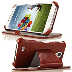 MoKo Leather Cover for Samsung Galaxy S4 COFFEE with stand