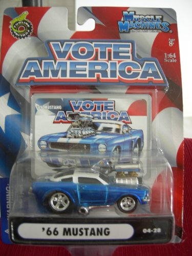Muscle Machines Vote America '66 Mustang Blue/White #04-28
