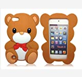 Brown 3d Stylish Teddy Bear Soft Silicone Case Cover Compatible for Apple iPod Touch 5 5G