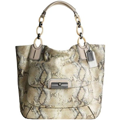 Authentic Coach Kristin Embossed Metallic Python North South Tote Handbag 16797 Ivory