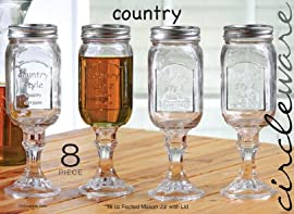Country Style, Footed Mason Jar Wine Glass with Lid. 16 oz Each. Set of 4