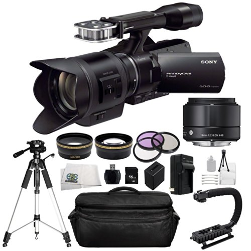Sony Nex-Vg30H Camcorder With Sony 18-200Mm F/3.5-6.3 Power Zoom Lens & Sigma 19Mm F/2.8 Dn Lens. Also Includes: 0.43X Wide Angle Lens, 2.2X Telephoto Lens, 3 Piece Multi-Coated Filter Kit (Uv-Cpl-Fld), 16Gb Memory Card, Scorpion Video Stabilizer, Replace