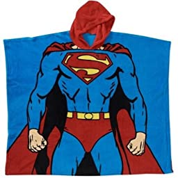 DC Comics Superman Hooded Poncho Pajama One Size Fits Boy 5 To 10