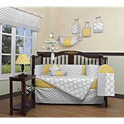 GEENNY Boutique Baby 13 Piece Crib Bedding Set, Yellow/Gray Chevron