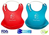 Newly Improved Adorable Waterproof Silicone Soft Bib with Food Catcher - Easy Clean Baby bibs for Boys or girls Red/Blue 2 Pack - FREE Infant Soft-Bite Tip Baby Spoons and Fork BPA Free Set- Baby Shower Gift!
