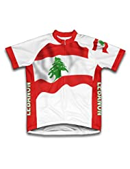 Lebanon Flag Short Sleeve Cycling Jersey for Women
