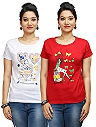 Flexicute Women's Printed Round Neck T-Shirt Combo Pack (Pack of 2)- Red & White Color. Sizes : S-32, M-34, L-36, XL-38