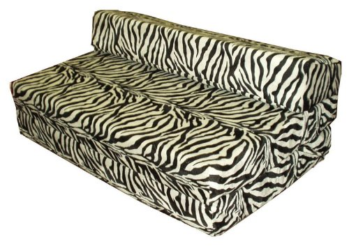 Fold out zebra print foam guest bed folding sofa sit n sleep futon seat
