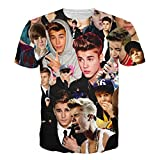 80Store® Newest Womens Mens Unisex Fashion 3D Print Famous Star T-Shirt Top (M, Justin bieber)