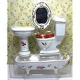 Miniature Porcelain Bathroom Furniture Set Toilet Basin Bathtub 1:12 Dollhouse