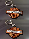 2-Pcs Stylish Harley Davidson Synthetic Rubber Key chain for your Bajaj,Yamaha,Suzuki,Bullet Bikes
