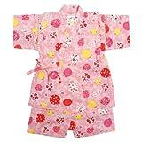 甚平ベビー女の子綿100%日本製生地水風船和柄甚平スーツ(じんべい)子供甚平ピンク90cm