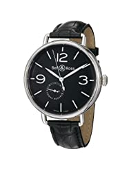Bargain!! Bell & Ross Men's BRWW1-97POWRRSV Vintage Black Leather Strap Watch USA Sale