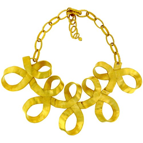 Kenneth Jay Lane Gold Plated Ribbon Statement Necklace