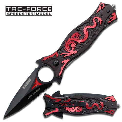 TAC FORCE Folding Knife 1/2 Serrated Blade Red Dragon Handle Clip TF-707RD NEW!! (Cs Go Gut Knife compare prices)