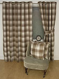 """Jacquard Tartan Check Brown 65x54"""" 165x137cm Lined Ring Top Curtains Drapes by Curtains"""