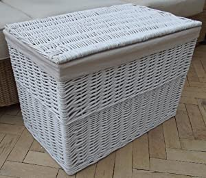 White painted wicker hamper lined toy or laundry store basket cane storage lining large size - White wicker clothes hamper ...