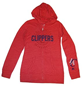 Los Angeles Clippers Adidas Ladies Red Full-Zip Hooded Long Sleeve T-Shirt (S) by adidas