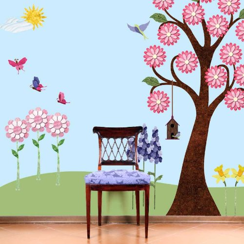 Flower Wall Stickers for Girls Room - Repositionable & Removable Garden Wall Decals for Girls Room Wall Mural