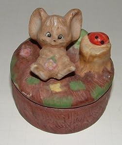 Vintage Forest Mouse Trinket Box
