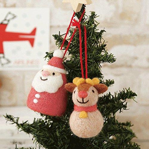 羊毛フェルトで作るころころサンタとトナカイのクリスマスオーナメント手作りキットスターターセット(針・マット)付き