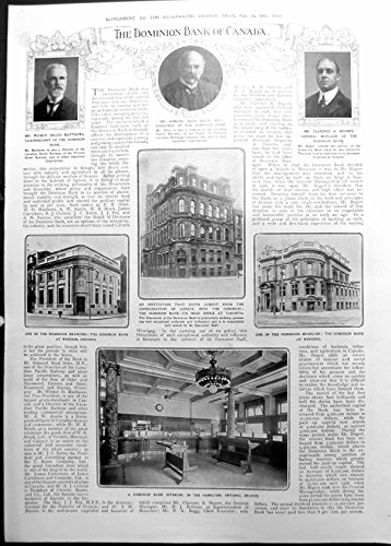 old-original-antique-victorian-print-dominion-bank-canada-windsor-toronto-winnipeg-nova-scotia-1911-