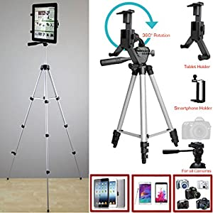 ChargerCity XL-52 inch Smartphone & Tablet Holder Selfie Photo Booth Camera Tripod Kit w/360° Adjustment for Apple iPad Pro Air Mini iPhone MicroSoft Surface Samsung Galaxy Tab S6 Edge Note LG G5 V10