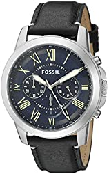 Fossil Men's FS5089 Grant Chronograph Leather Watch - Black