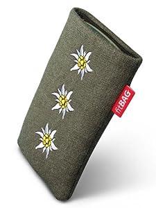 fitBAG Trachten Edelweiß Handytasche Tasche aus Textil-Stoff mit Microfaserinnenfutter für LG Google Nexus 5 (Neues Modell November 2013)