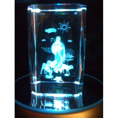 Laser Etched Crystal Cube Jesus the Good Shepherd
