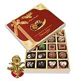 Chocholik Belgium Chocolates - 20pc Dark And Milk Chocolate Box With Ganesha Idol - Diwali Gifts