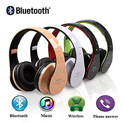 Noise Cancelling Earphone Foldable Wireless Headphones Bluetooth Headset Hi-fi Stereo with Built-in Fm Radio and Mp3 Player, for Sweatproof Jogger, Running, Handsfree Sport, Hands-free Calling/answer, Aptx for Iphone 6, 6 Plus, 5 5c 5s 4s Ipad, Lg G2, Sam
