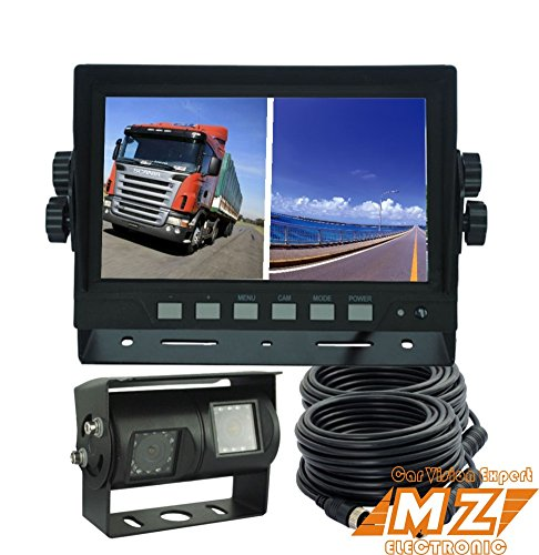 7 digital split quad monitor dual twin double rear view backup reverse camera system for truck. Black Bedroom Furniture Sets. Home Design Ideas