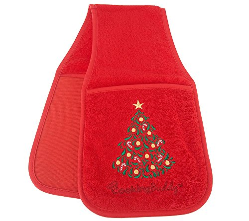 Campanelli's Cooking Buddy (Limited Edition: Christmas Red) - Professional Grade All-In-One Pot Holder, Hand Towel, Lid Grip, Tool Caddy, and Trivet. Heat Resistant up to 500ºF! As Seen On QVC. (Hang Pots compare prices)