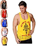 NEW Original Classic Golds Gold's Gym Bodybuilding Stringer Vest S/M/L/XL sizes (Yellow, Medium)