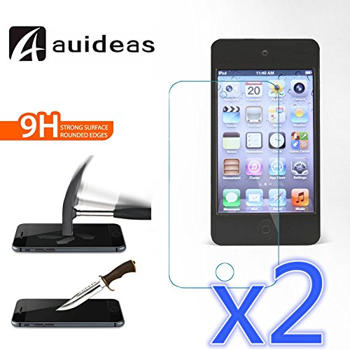 iPod Touch 4 4th Gen Screen Protector,AUIDEAS®, iPod Touch 4 4th Gen Glass Screen Protector - [2 screen in 1 Pack] [Tempered Glass]Glass Screen Prot