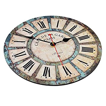 Wall clocks,Petforu,12 Inch Vintage France Paris French Country Tuscan Style Roman Numeral Design Silent Wooden Wall Clock B