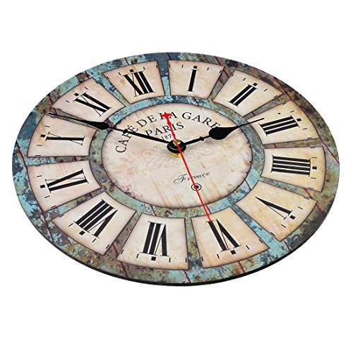 Wall clocks,Petforu,12 Inch Vintage France Paris French Country Tuscan Style Roman Numeral Design Silent Wooden Wall Clock B 2