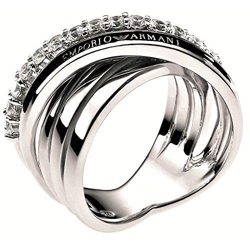 Emporio Armani Damen-Ring 925 Silber rhodiniert Zirkonia weiß Gr. 52 (16.6) - EG2730040-6