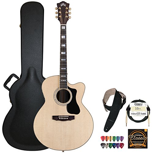 Guild F-150R-Ce Natural Jumbo Acoustic Electric Guitar With Guild Hard Case, Chromacast Strings, Cable, Picks And Strap