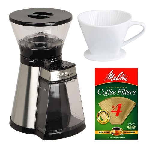 Cuisinart CBM-18 Cuisinart Programmable Conical Burr Grinder with Porcelain Coffee Filter Cone ...