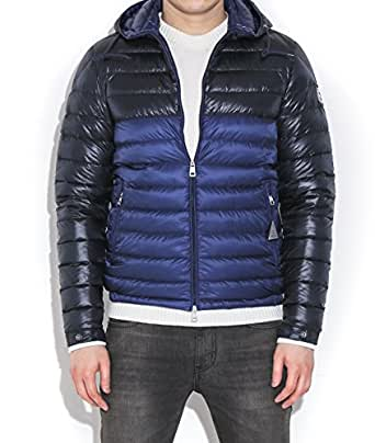 Moncler Men's Emeric Color Blocked Down Hooded Jacket 5 Blue and Black
