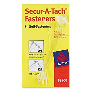 Avery  Secur-A-Tach  Fasteners, Nylon, Clear, 5 inches, Pack of 1000 (18800)