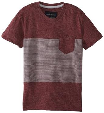 Calvin Klein Little Boys' Blocked Jersey Tee 2, Dark Cherry Heather, Medium