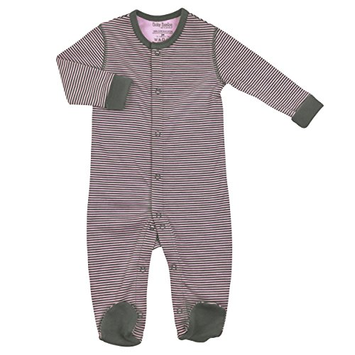 Kushies Cotton Baby Pajamas Pink grey Striped Baby Girls Footie Footed Outfit 9M
