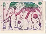 Rare Unique Vintage Asian Oriental Thai Traditional Art Mulberry Paper Values Handmade Postcards To Colour Design Elephant for Warrior King By Thailand